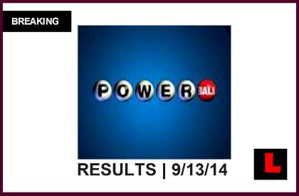 Powerball Winning Numbers Tonight September 13, 2014 9/13/14 Results Revealed 2014